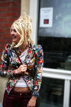 A Nod to the 90s #london #hair #jacket #trousers #print #covent #fashion