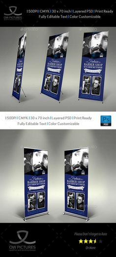 Buy Barber Shop Signage Banner Roll Up Template by OWPictures on GraphicRiver. Signage Roll-Up Banner Description: Barber Shop Signage Banner Roll Up Template was designed for business, it'.