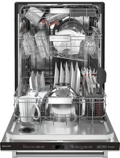 KitchenAid - Top Control Built-In Dishwasher with Stainless Steel Tub, FreeFlex Third Rack, - Stainless Steel With PrintShield Finish Buy Dishwasher, Kitchenaid Dishwasher, Built In Dishwasher, Pick Up, Utensil Trays, Serving Utensils, Pots, Open Concept Kitchen, Mixing Bowls