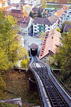 ~Fribourg Switzerland~ waste-water fueled funicular