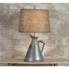 Repurposed Galvanized Garden Can Table Lamp
