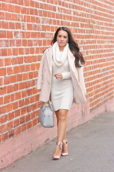 Cowl looks too heavy, but a pretty concept…  StylishPetite.com | Winter Pastels Holiday Party Ensemble and Gift Guide