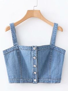 Button Through Cami Denim Top Denim Top, Crop Top With Jeans, Trendy Outfits, Cute Outfits, Denim Handbags, Diy Vetement, Girls Fashion Clothes, Clothing Hacks, Aesthetic Clothes