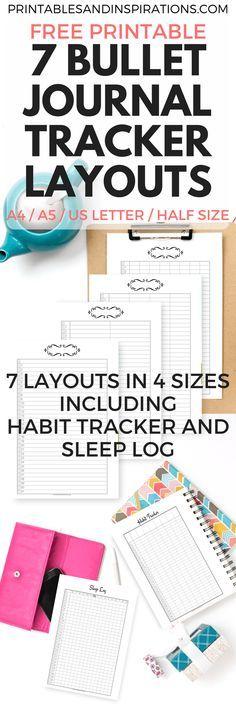 Free printable bullet journal tracker layout, budget binder, expense tracker, habit tracker, sleep Log, planner printables