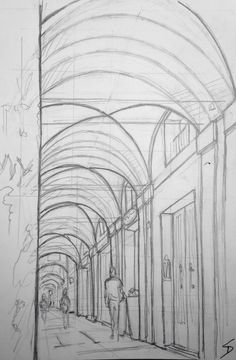 Quick Sketch - Via Saragozza, Bologna. The longest stretch of porticoes in the world. It's popular with joggers.