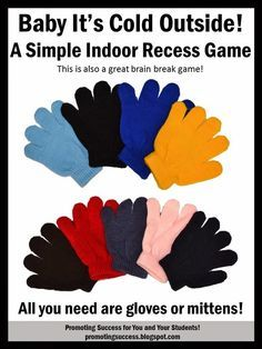 The cold weather brings on indoor recess.  This can create some long days for teachers!  I came up with an indoor recess game that will create structured movement...movement with a purpose, not just running around the room! LOL  If you are lucky enough to live in a place where indoor recess isn't a thing, you may still play this game as a brain break allowing for movement in the classroom.  Brain research shows us that movement helps fire neurons that increase student achievement.