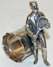 Antique Figural Napkin Ring with Male Tennis Player - Rare