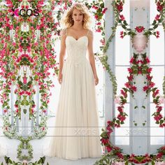 Find More Wedding Dresses Information about Stylish A Line Wedding Dress 2016 White Ivory Lace Bridal Gowns Appliques Beaded Robe de Mariage Sweep Train SA75,High Quality Wedding Dresses from XCOS Wedding Dresses Co.,Ltd on Aliexpress.com