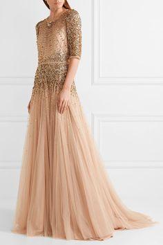 Jenny Packham - Bead and sequin-embellished tulle gown Tulle Ball Gown, Tulle Dress, Sequin Dress, Ball Gowns, Beaded Evening Gowns, Beaded Gown, Beige Dresses, Lovely Dresses, Long Dresses