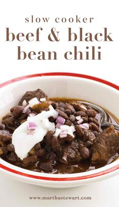 Slow cooker Beef & Black Chili | Martha Stewart Living - There's no need to soak these dried beans because they simmer in the slow cooker. Save a little of the chopped red onion for a fresh garnish.