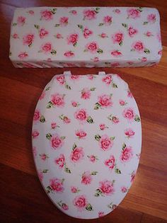 Shabby Pink Love Vanilla Rose Toilet Seat Cover Set | eBay