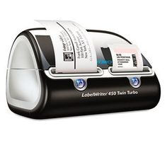 DYMO Label Writer 450TwinTurbo by Sanford. $155.00. DYMO Label Writer 450 Twin Turbo Double your label capacity for even greater labeling and mailing efficiency.  Holds two label rools at once for maximum efficiency-print 60+ label layouts at speeds up to 71 labels per minute without switching label rolls PLUS prints DYMO stamps postage.  package includes LabelWriter 450 Twin Turbo software USB cable Cleaning card AC Power Adapter User Guide quick starter guide starter ro...