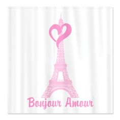 Paris Pink Eiffel Tower Heart Shower Curtain