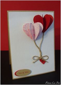Heart card easy to make using scrap paper/old cards and string Pop Up Cards, Love Cards, Diy Cards, Valentine Day Crafts, Love Valentines, Handmade Birthday Cards, Anniversary Cards, Homemade Cards, Diy Gifts