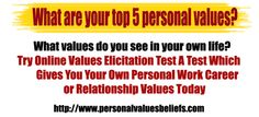 What values do you see in your own life?   Try Online Values Elicitation TestA Test Which Gives You Your Own Personal Work Career or Relationship Values Today