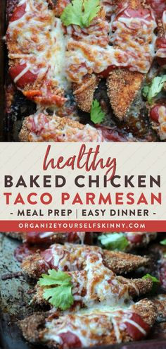Healthy Baked Chicken Taco Parmesan | Meal Prep Tips - Chicken tenders baked in taco seasoning and breadcrumbs then smothered with delicious taco sauce and melted pepper jack cheese. This easy healthy recipe gives taco night a whole new twist! Organize Yourself Skinny | Healthy Family Recipes | Meal Prep for Beginners | Quick and Easy Dinner Recipes | Meal Planning Tips | Healthy Chicken Recipes Clean Dinner Recipes, Dinner Recipes Easy Quick, Beef Recipes For Dinner, Family Recipes, Healthy Freezer Meals, Healthy Meals For Two, Easy Healthy Dinners, Taco Sauce, Taco Seasoning
