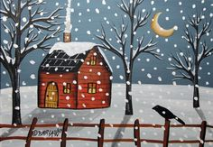 Wintry Night 5x7 inch Canvas Panel ORIG Landscape PAINTING PRIM FOLK ART Karla G ...new painting for sale, just finished and added to store.... #FolkArtAbstractPrimitiveLandscape