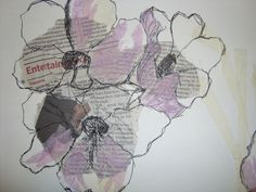 Observational drawing from my first project at Leeds; experimenting with pencil, pen, paint and stitch.