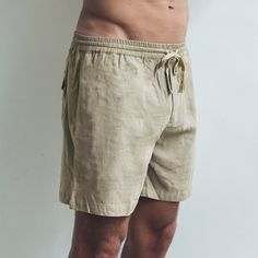 Your summer linen shorts have arrived. Made from soft organic linen and featuring a drawstring waistband, they're our favourite, breathable and versatile wardrobe staple. Perfect shorts for every occasion.  Sand Relaxed fit  Drawstring waistband   Single pocket at the back 100% Linen  Cool wash, hang dry  Model wears size XL / 36 inch waist Linen Shorts, Wardrobe Staples, Label, Organic, Pocket, Fit, Summer, How To Wear, Collection