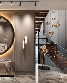 A large round mirror with illumination focuses attention due to its massiveness. In combination with the luxurious chest of drawers Cattelan Italia, the pouf Minotti, an abstract painting, the interior becomes full and the overall picture is complete. ~ Большое круглое зеркало с подсветкой, акцентирует внимание за счёт своей массивности. В сочетании с роскошным комодом Cattelan Italia, пуфом Minotti, абстрактной картиной интерьер становится наполненным, а общая картина собранной.