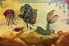 Mermaid. jellyfish. fish. watercolor and pen. underwater and above water. Original Art by gloria Espinoza