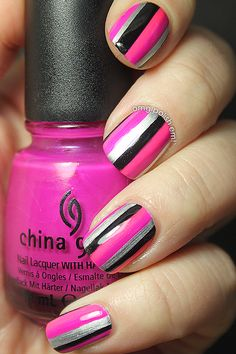 OMG! Polish 'em!: Stripes! Pink, Black, and Silver