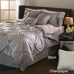 The classic and chic look of this comforter set is derived from pintuck sewing, and in this case each pintuck is individually sewn. The comforter and shams faces are 100-percent microplush polyester fabric, for an incredibly soft hand.