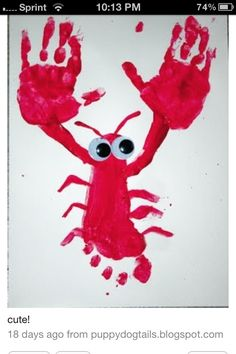 Lobster with hands and feet. Fun for summer time