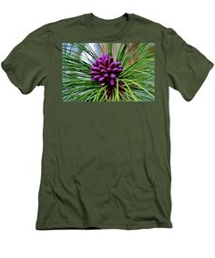 Purple Men's T-Shirt (Athletic Fit) featuring the photograph Purple Pine Cones by Cynthia Guinn