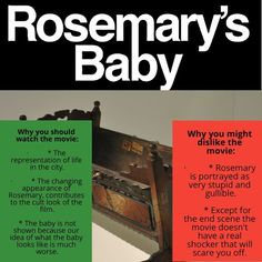 Quick review of Rosemary's Baby by Roman Polanski #romanpolasnki #miafarrow #1960s #moviestowatch #filmstowatch #horrormovies #cultmovies Cult Movies, Horror Movies, Movies To Watch, Rosemary's Baby, Mia Farrow, Roman Polanski, Grafik Design, Vintage Movies, The Past