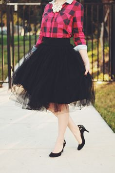 Fashion Friday - Oh Happy Heights {Fancy Black Tulle Skirt, Plaid Shirt, Chunky Pearls} #modestfashion