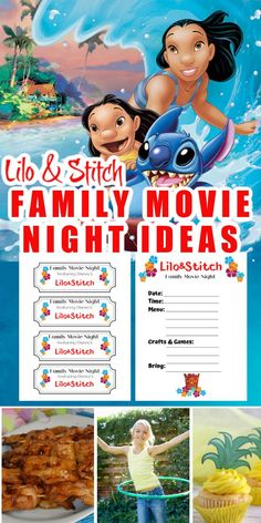Have a Lilo & Stitch Family Movie Night with these printable movie tickets, meal ideas, crafts, and games that are fun for the whole family. Lilo And Stitch Movie, Lilo Stitch, Lilo And Stitch Games, Family Movie Night, Family Movies, Stitch Coloring Pages, Luau Decorations, Movie Crafts