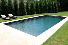 Simple rectangular fiberglass pool with sheer descents. Simple rectangular fiberglass pool with sheer … Above Ground Pool Landscaping, Backyard Pool Landscaping, Backyard Pool Designs, Small Backyard Pools, Swimming Pools Backyard, Landscaping Design, Backyard Ideas, Inground Pool Designs, Pool Spa