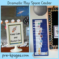 Space station theme dramatic play center for your preschool, pre-k, or kindergarten classroom. Printable props to help you easily transform your kitchen or home living dramatic play center into a space station by adding a few simple play props! Dramatic Play Themes, Dramatic Play Area, Dramatic Play Centers, Space Theme Preschool, Preschool Science, Free Preschool, Preschool Ideas, Sistema Solar, Middle School Literacy