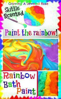 Rainbow scented bath paint!! Food coloring + shaving cream + kool aid packets.