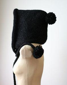 358a656a54c Winter Sparkle Hood Hand Knit Women Merino Wool Black Hooded Scarf Oversized  Winter Accessory Boho Chic Bohemian Button Silver Metallic