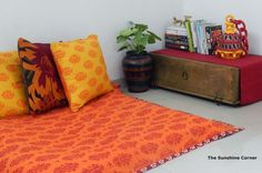 The Sunshine Corner: My own cosy corner - Decor Photos and ideas - Indian Living Rooms Furniture Design Living Room, Floor Seating, Home Decor, Indian Home Interior, Cosy Corner, Corner Decor, Room Furniture Design, Corner Seating, Asian Home Decor
