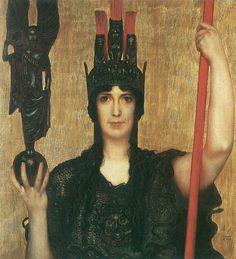 Franz Stuck (German 1863–1928), [Symbolism, Art Nouveau] Pallas Athena.