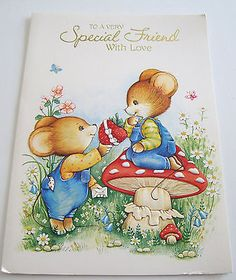 Used Vtg Greeting Card Cute Mouse Giving Mouse on Mushroom a Strawberry