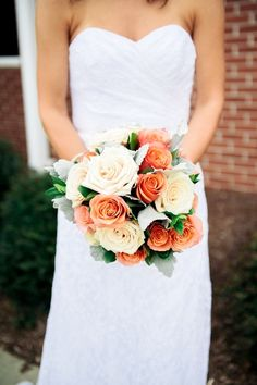 Cream and coral bouquet