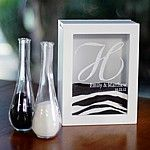 White unity sand ceremony shadow box and sand pouring vases personalized with H monogram initial, bride and groom's names and wedding date
