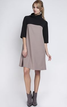 Two Tone Neutral And Black Polo Neck Dress - SilkFred