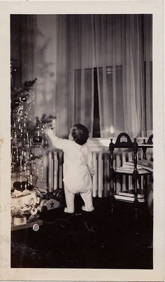 Vintage Antique Photograph Adorable Baby Reaching Up Christmas Tree Retro Room
