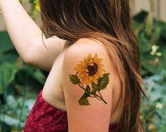 sunflower temporary tattoo – Etsy