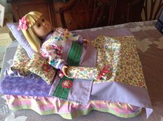 "American girl doll or any 18"" doll bed made with plastic storage bin. Perfect for storing all the doll accessories. Blanket and pillows hand made"