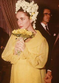 Elizabeth Taylor at her wedding to Richard Burton, 1964.