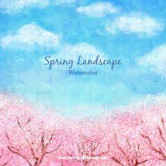 桜の木と水彩春の風景 無料ベクター