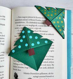 fenyőfa karácsonyi könyvjelző Christmas Paper Crafts, Christmas Deco, Diy Christmas Gifts, Kids Christmas, Christmas Cards, Cute Origami, Cute Bookmarks, Theme Noel, Xmas Decorations