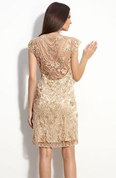Sue Wong Embellished Illusion Back Sheath Dress #wedding