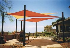 Shade sails are a trendy alternative to umbrellas or awnings!